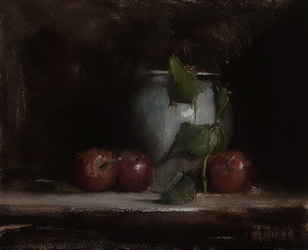 """""""Still Life with Apples and Leaves"""" original fine art by Neil Carroll"""