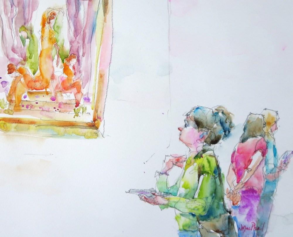 """admiring the Pre-Raphaelites"" original fine art by Nora MacPhail"