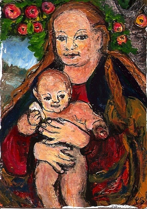 """""""ACEO Madonna of the Apple Tree in the Style of Lucas Cranach Penny StewArt"""" original fine art by Penny Lee StewArt"""