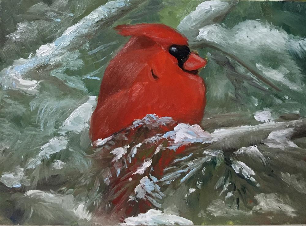 """Snowy Cardinal"" original fine art by Carole Chalmers"