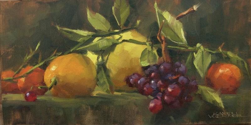 """""""Citrus & Grapes"""" original fine art by Karen Werner"""