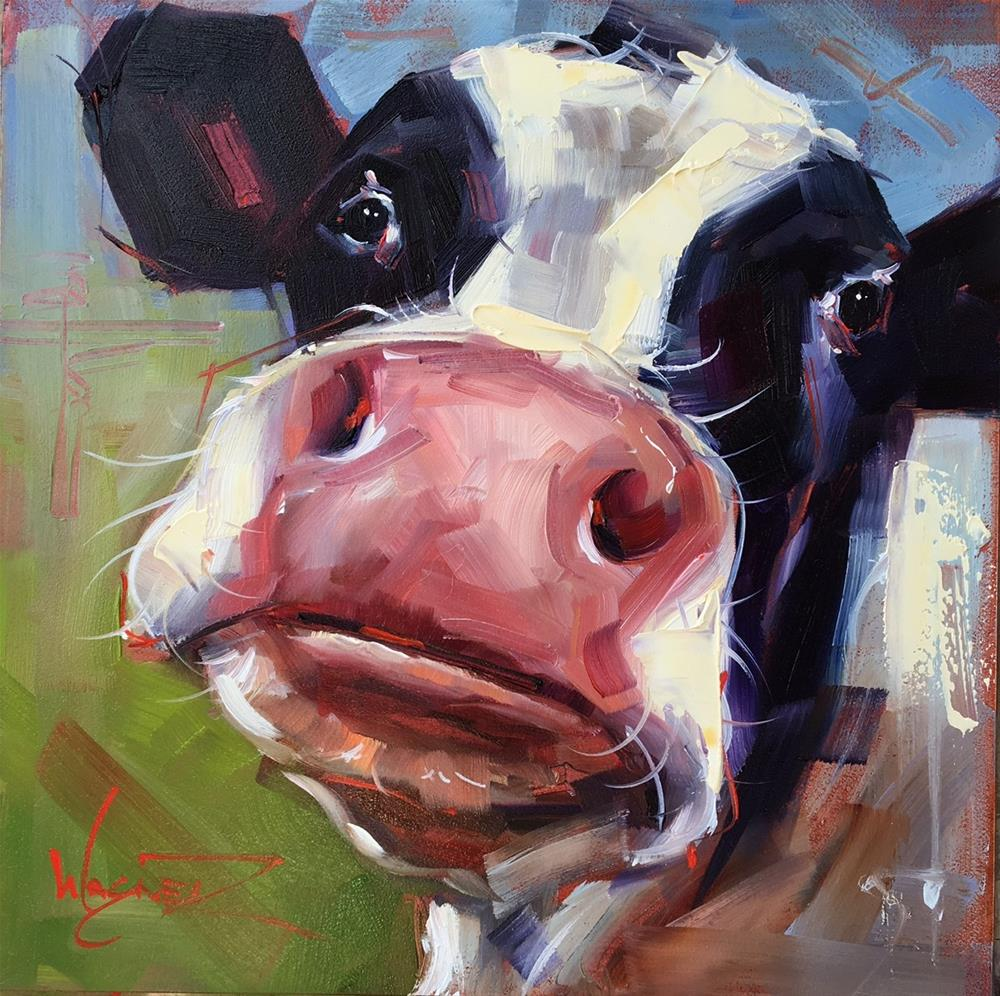 """""""ORIGINAL CONTEMPORARY COW Painting on Panel  in OILS by OLGA WAGNER"""" original fine art by Olga Wagner"""