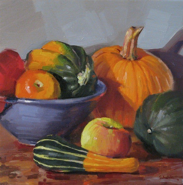 """October Arrangement still life oil painting thanksgiving decor pumpkin squash apples"" original fine art by Sarah Sedwick"