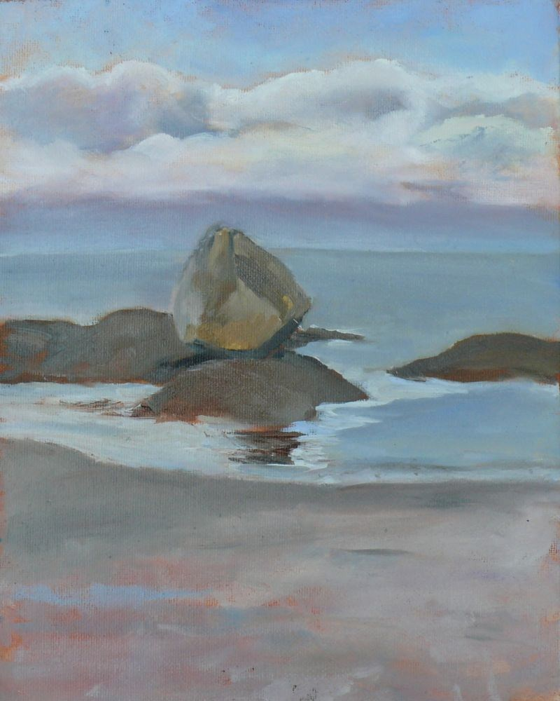 """The Rock at Gonzales Beach, oil on board, 8x10"" original fine art by Darlene Young"
