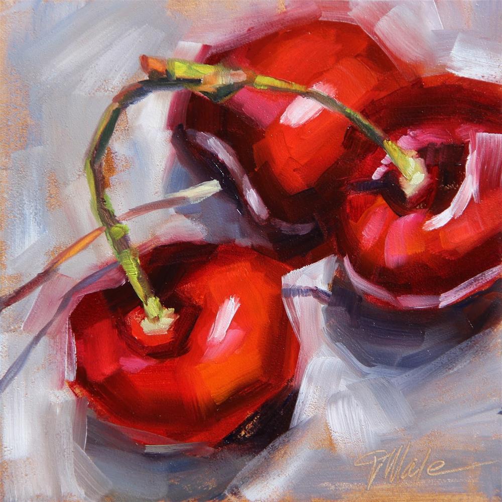 """Bing Cherries"" original fine art by Tracy Male"