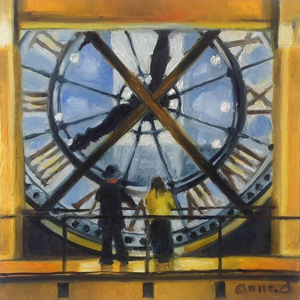 """""""Musée D'Orsay, Paris - View across the Seine through the Big Clock."""" original fine art by Anne Ducrot"""