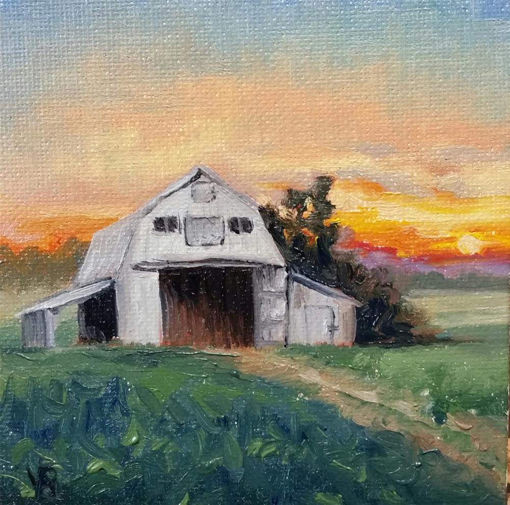 """""""Sunset on the Farm-mini painting"""" original fine art by Veronica Brown"""