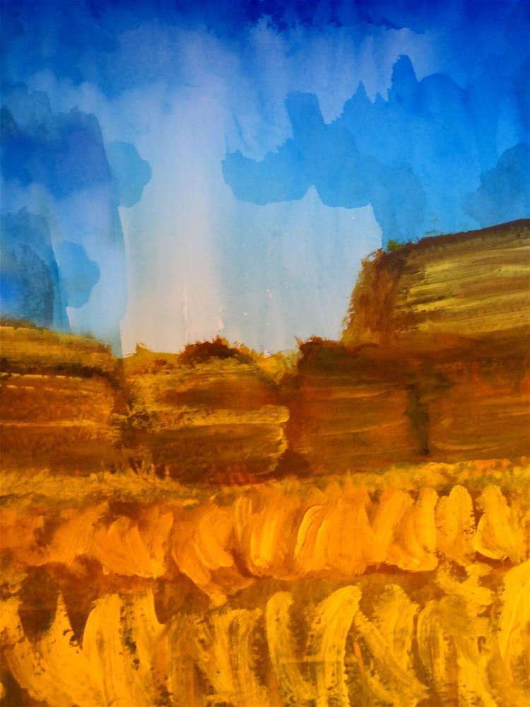 """""""Hay Bales in Autumn"""" original fine art by Terri Brown-Davidson"""