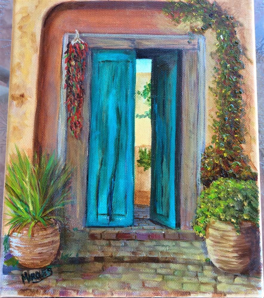 """Turquoise door"" original fine art by Kathy Marques"