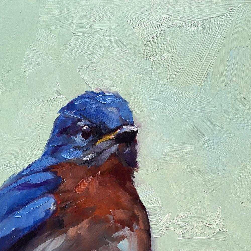 """blue bird sing"" original fine art by Kim Smith"