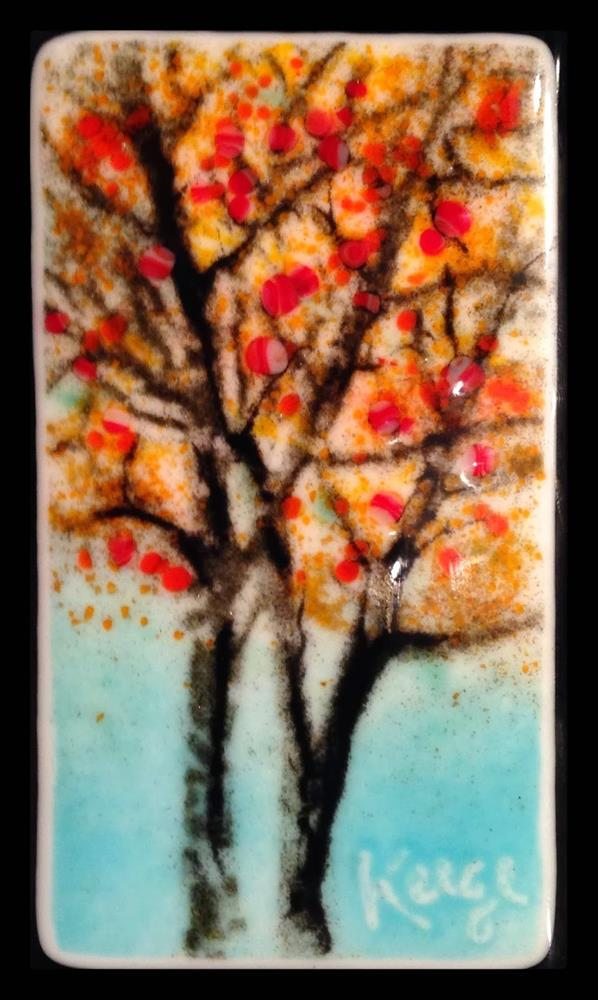 """""""Yellow Trees,Fused Glass Sgraffito sketch"""" original fine art by Kelly Alge"""