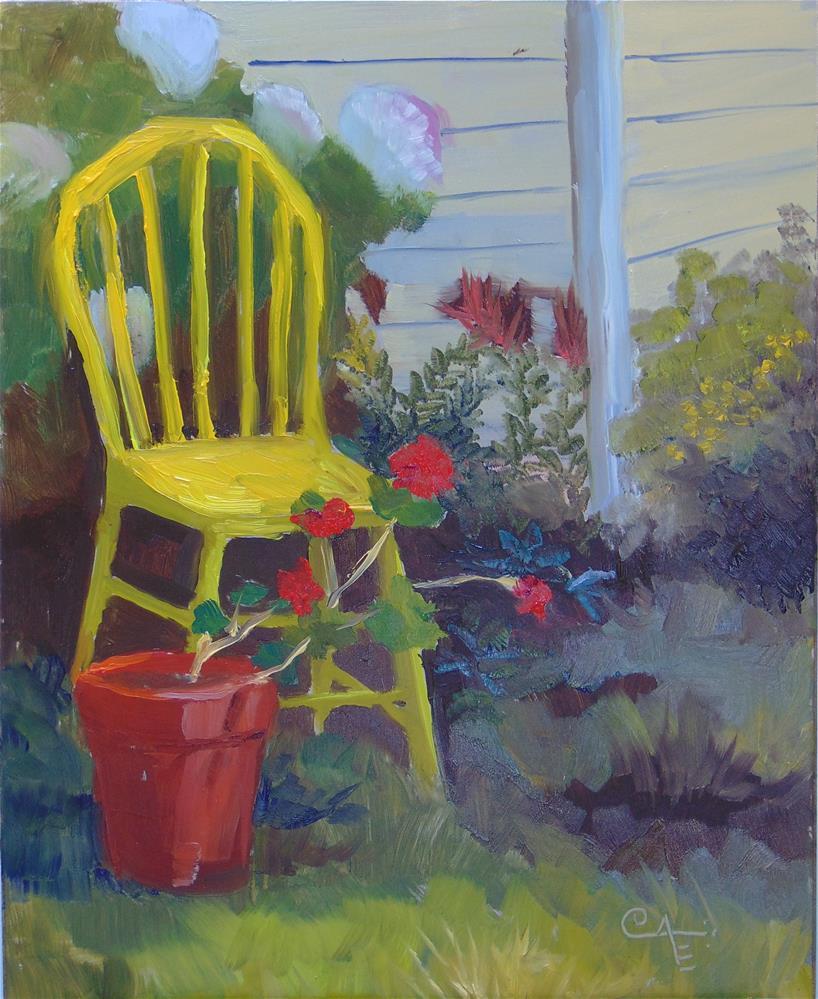 """""""Yellow Chair and Geranium"""" original fine art by Catherine Kauffman"""