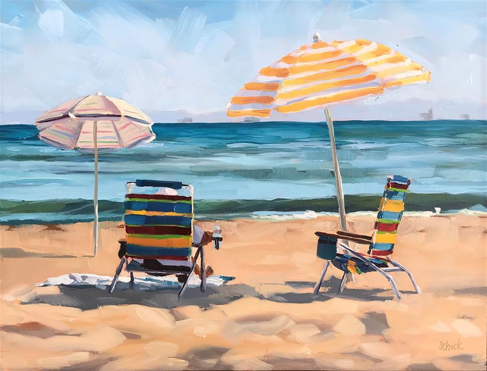"""""""Beach Stripes"""" original fine art by Sharon Schock"""