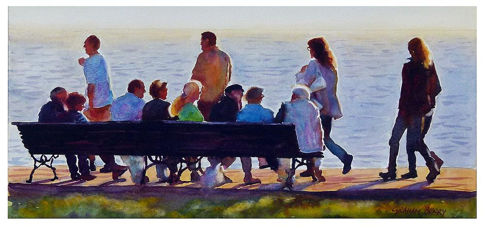 """Crowded bench."" original fine art by Graham Berry"