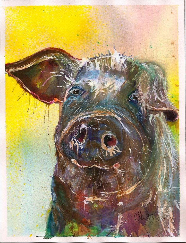 """8.5 x 11 Muddy Pig Colorful Watercolor and Ink Loose Style SFA Penny StewArt"" original fine art by Penny Lee StewArt"