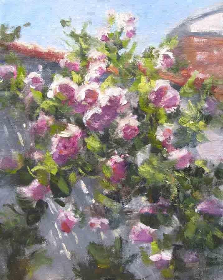 """""""Climbing Roses- Right"""" original fine art by Pat Fiorello"""