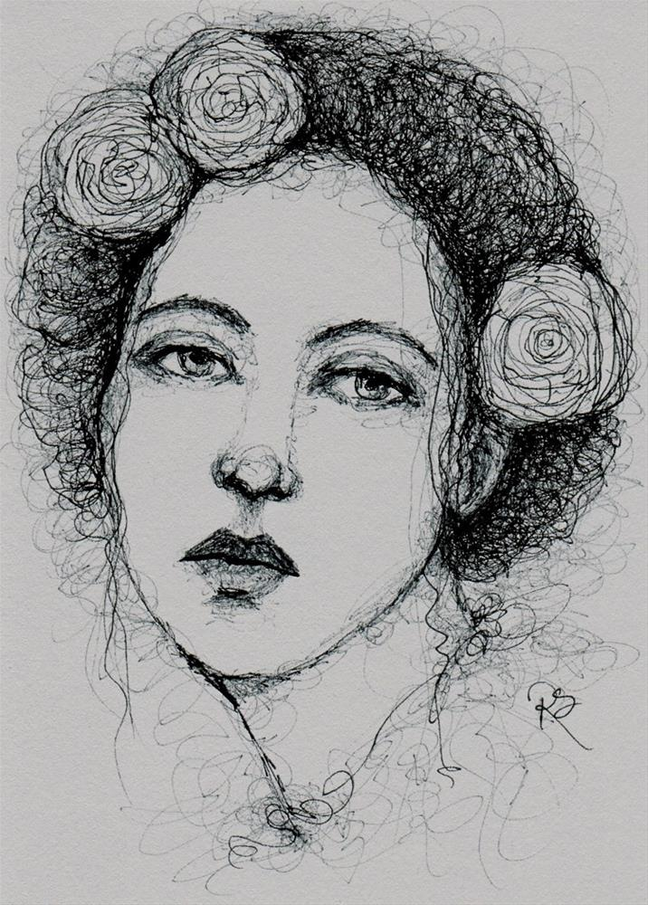 """Girl With Roses"" original fine art by Roberta Schmidt"