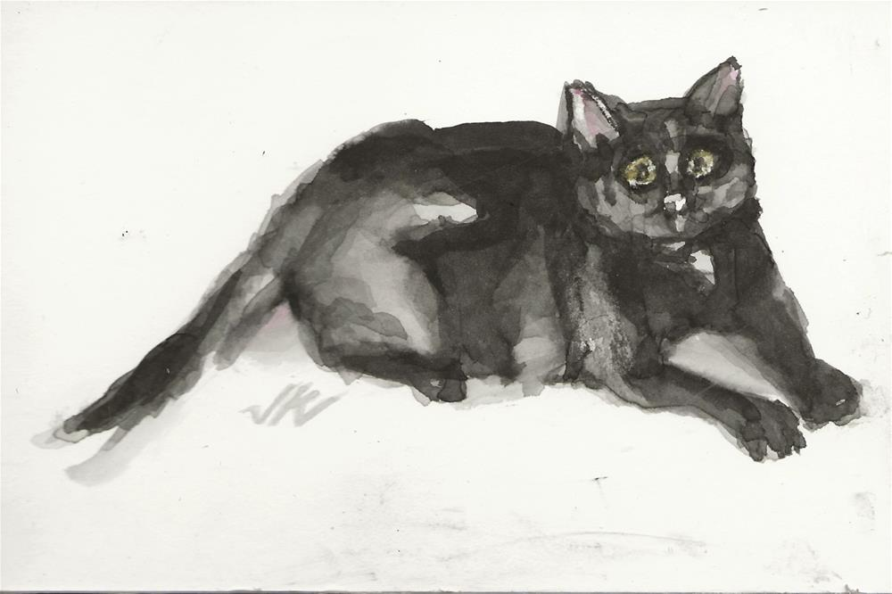 """Daily Cat 143"" original fine art by Jean Krueger"