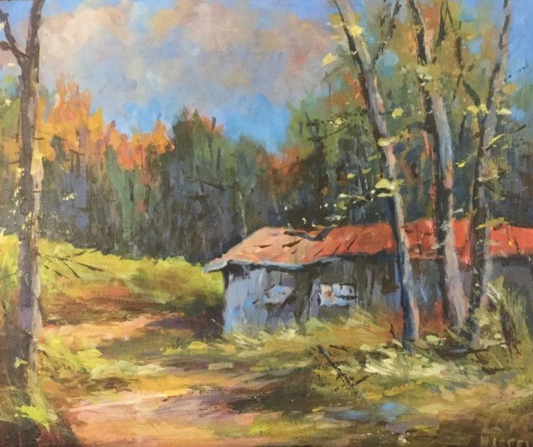 """""""Gray barn nature landscape meadow midwest country """" original fine art by Alice Harpel"""