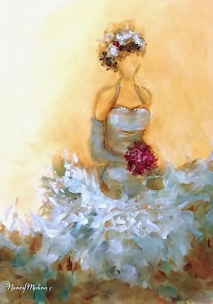 """Teal Blue Dream Dress"" original fine art by Nancy Medina"