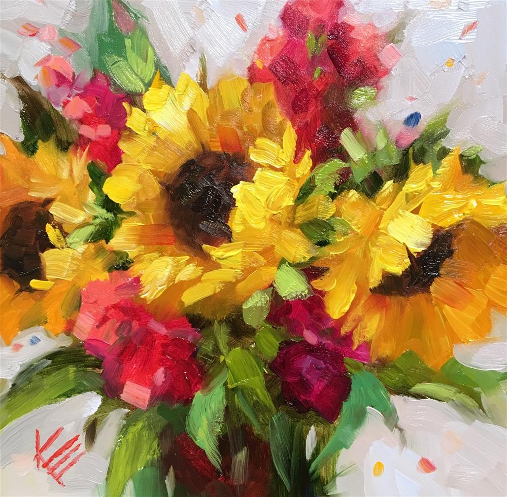 """Sunflowers & Stock"" original fine art by Krista Eaton"