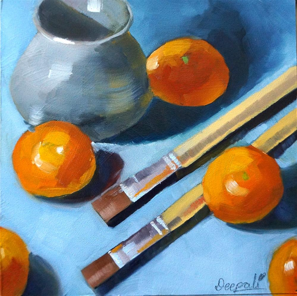 """Brushes with oranges"" original fine art by Dipali Rabadiya"