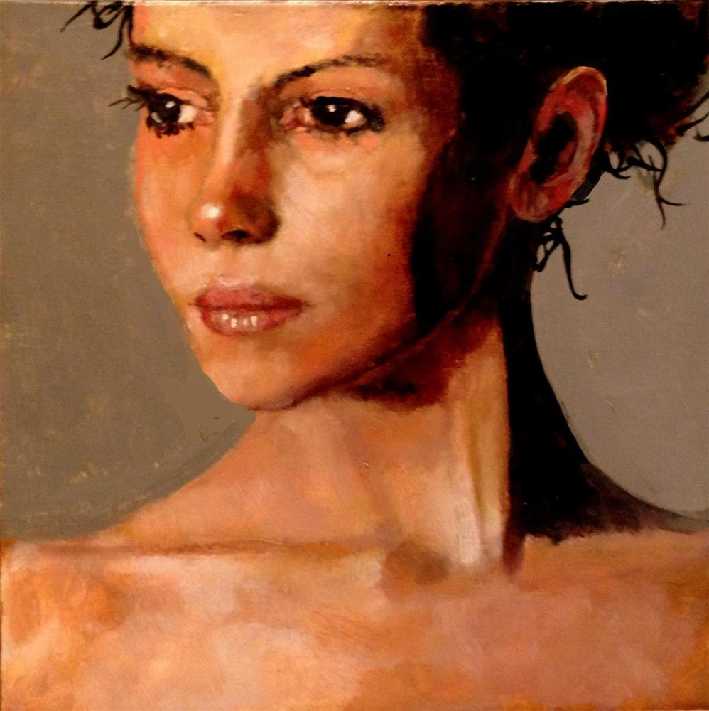 """""""NEW FACE 8X8 OIL ON PANEL IN WOOD ACCENT FRAME"""" original fine art by David Larson Evans"""