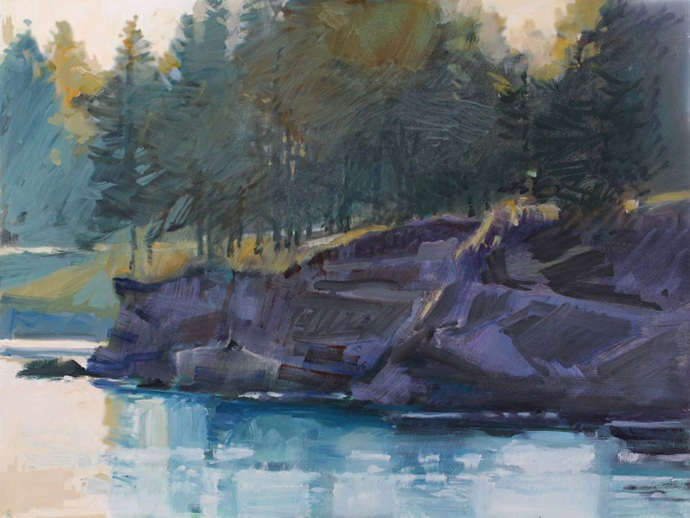 """""""Mill Bay Cliff and Trees"""" original fine art by Gretchen Hancock"""