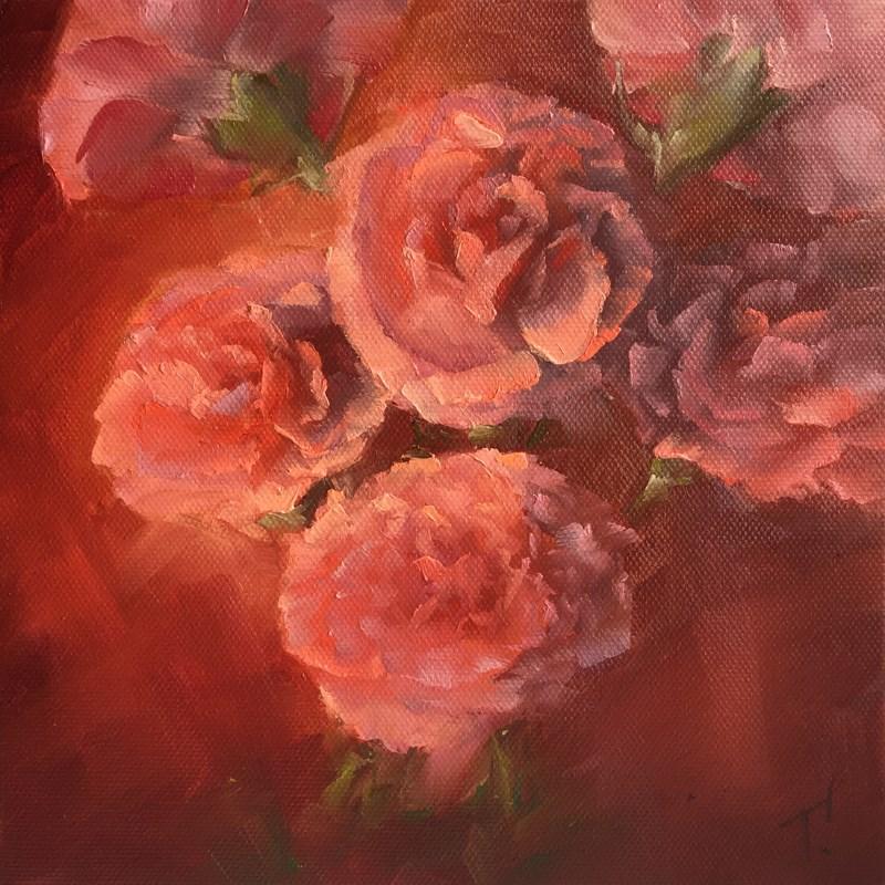 """Study of Carnations on Red"" original fine art by Lori Twiggs"