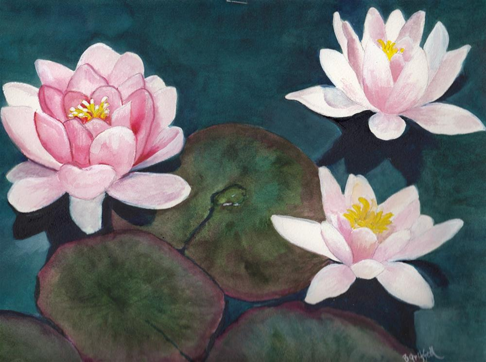"""Three Pink Lilies"" original fine art by Bunny Griffeth"