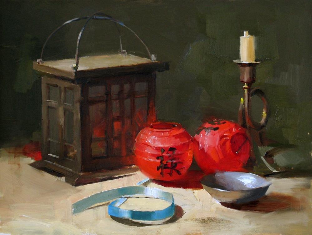 """Red Lanterns"" original fine art by Qiang Huang"
