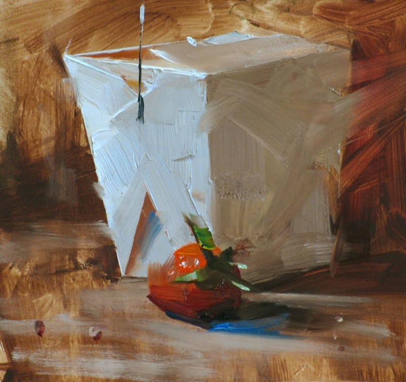 """Strawberry to Go"" original fine art by Qiang Huang"