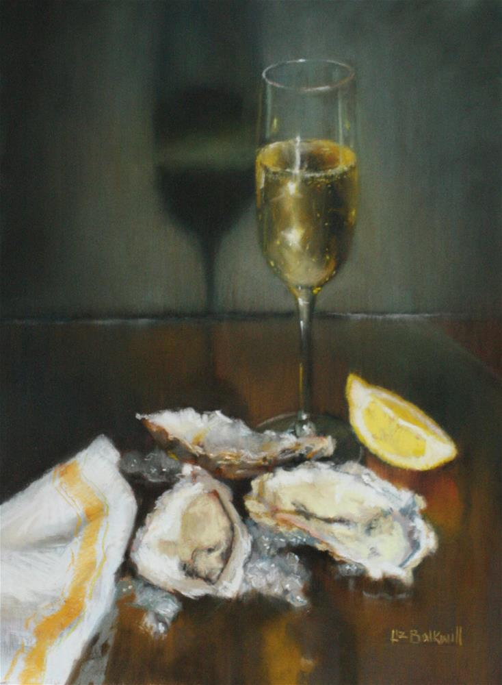 """""""Oysters and Champagne"""" original fine art by Liz Balkwill"""