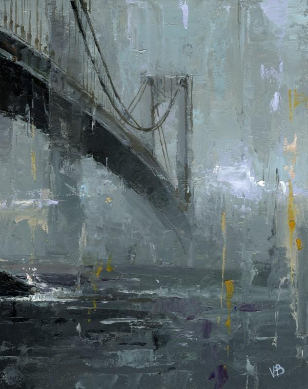 """Verrazano Bridge"" original fine art by Victor Bauer"