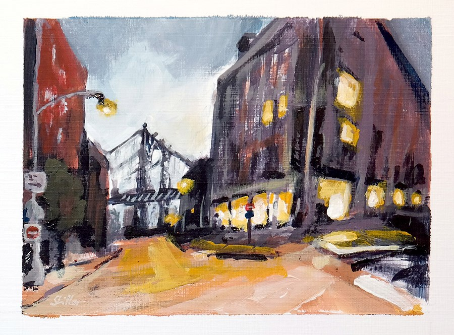"""1799 Postcard of NYC Streetview 2"" original fine art by Dietmar Stiller"