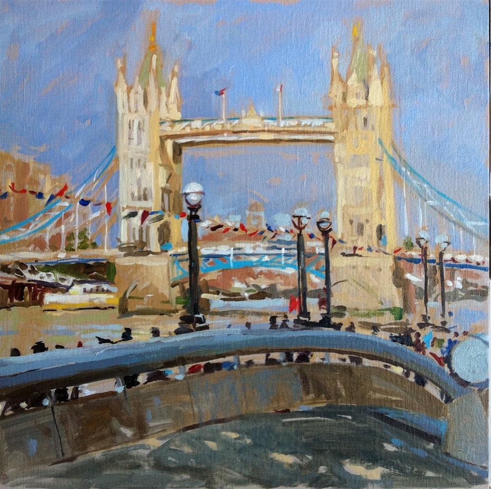 """Tower bridge with jubilee bunting"" original fine art by Haidee-Jo Summers ROI"
