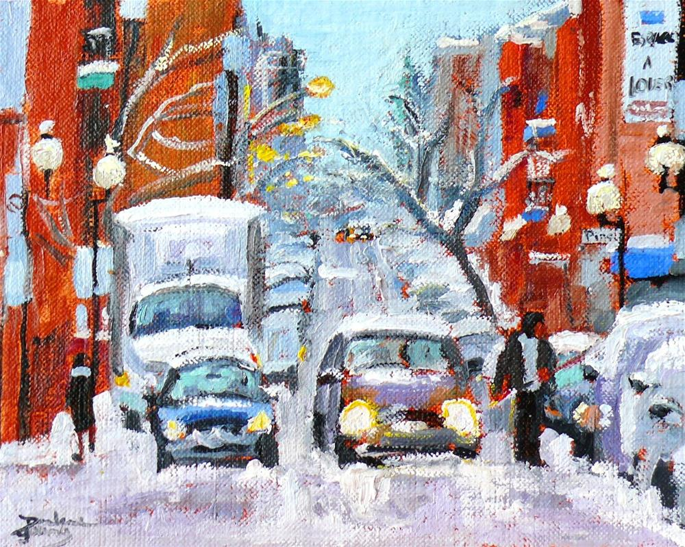 """""""592 Montreal Ave des Pins Snow Scene"""" original fine art by Darlene Young"""