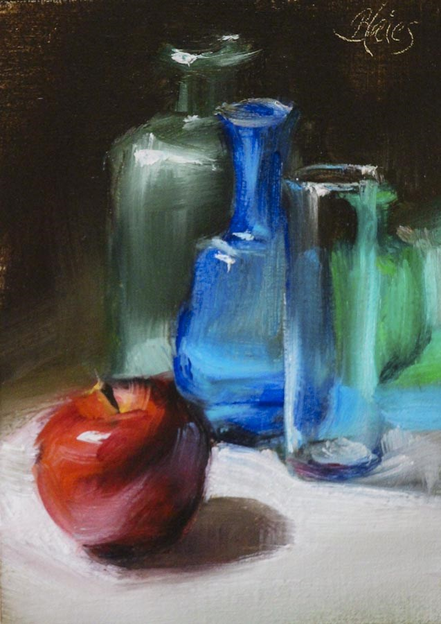 """Colorful Bottles and an Apple"" original fine art by Pamela Blaies"