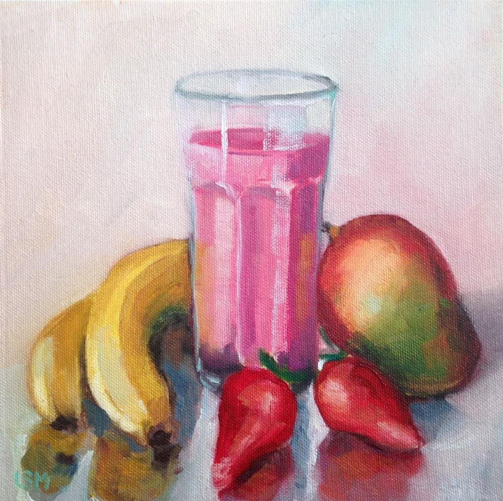 """Strawberry Banana Mango Smoothie"" original fine art by Linda Marino"