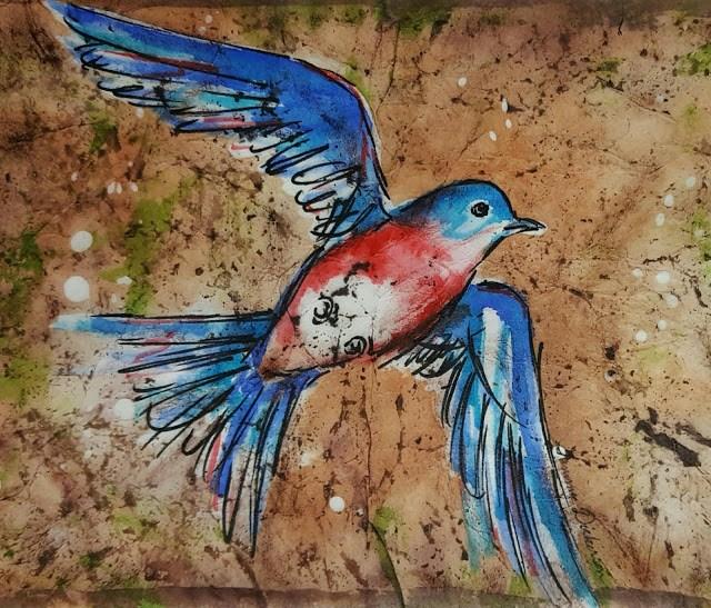 """Bluebird Batik"" original fine art by Tammie Dickerson"