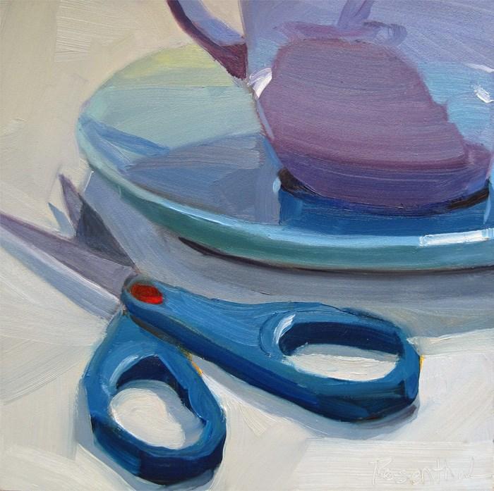 """Blue Scissors and Purple Cup"" original fine art by Robin Rosenthal"