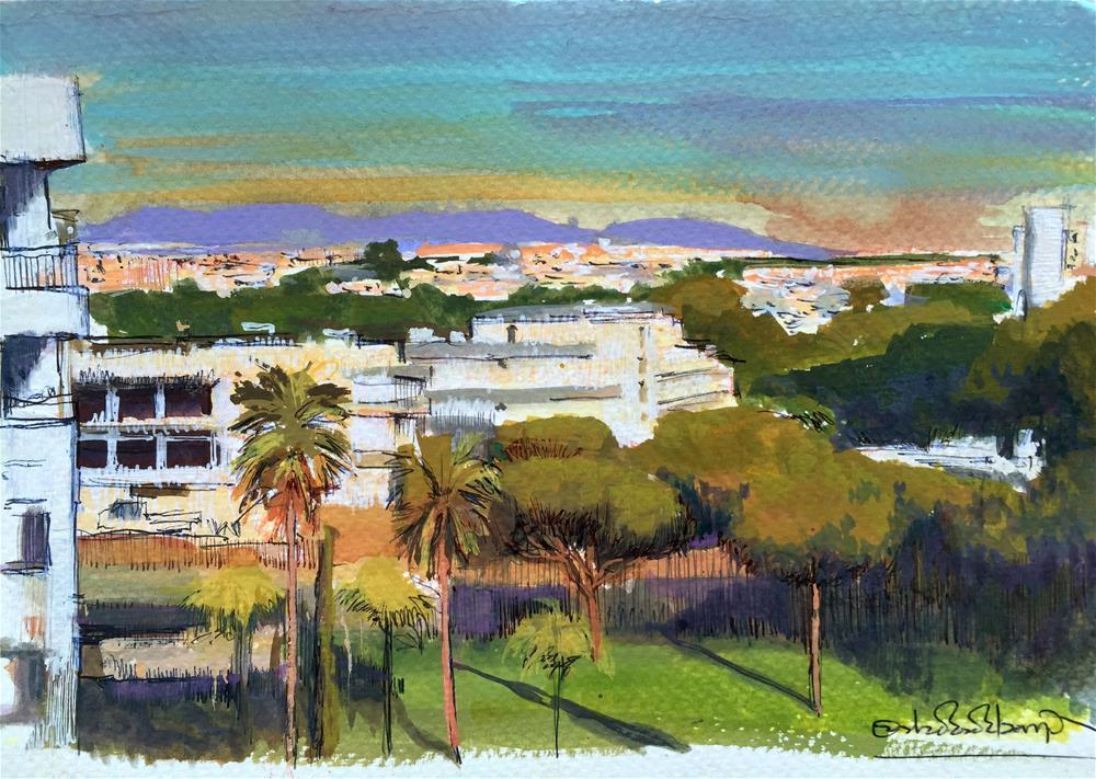 """Albufeira Urban Skyline landscape"" original fine art by Adebanji Alade"