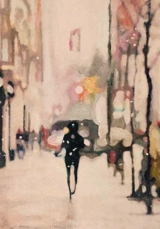 """Winter Walk"" original fine art by John Cameron"