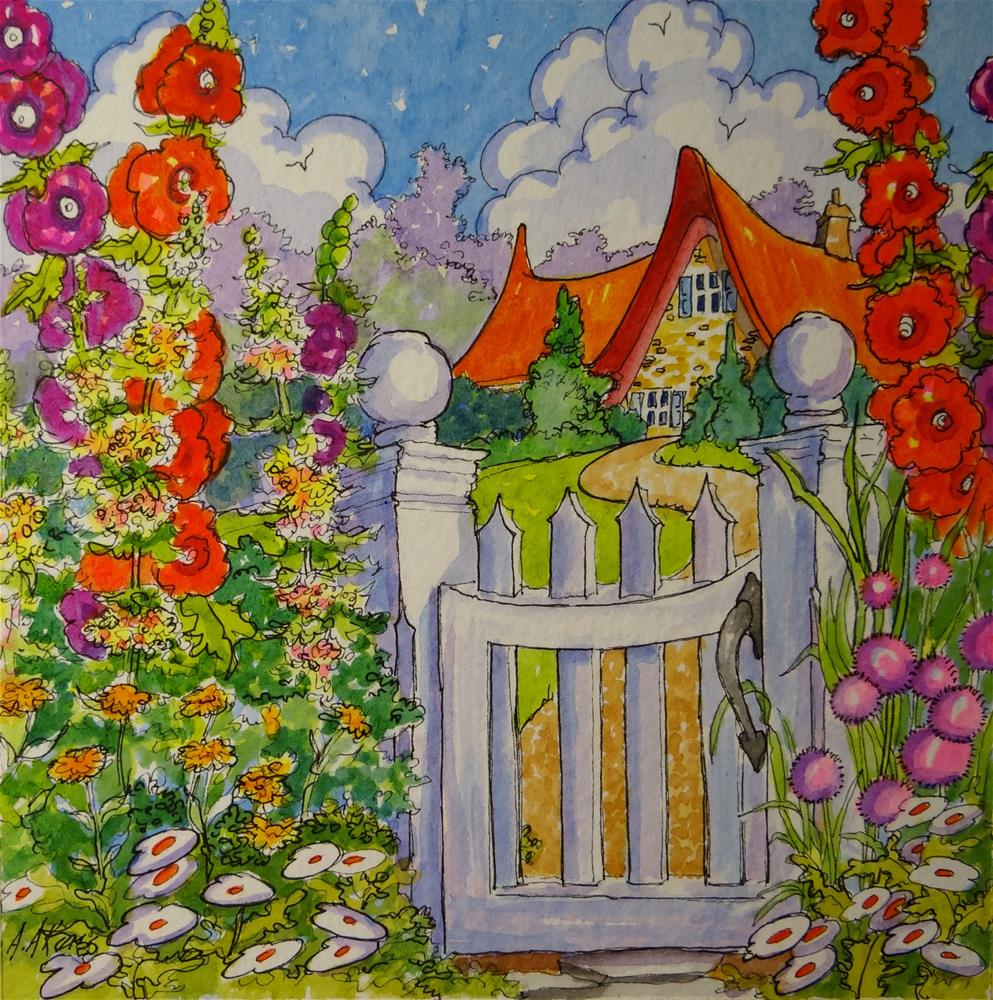 """""""The Cottage Gate Storybook Cottage Series"""" original fine art by Alida Akers"""