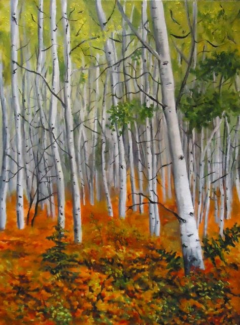 """Aspen Stand, the North Canol"" original fine art by Jackie Irvine"