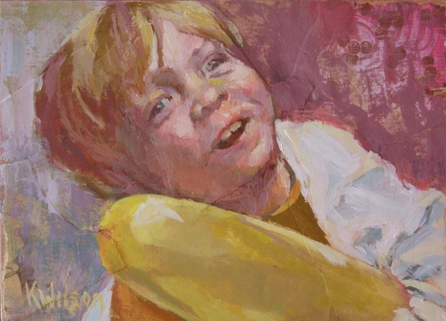 """Yellow Balloon"" original fine art by Katie Wilson"