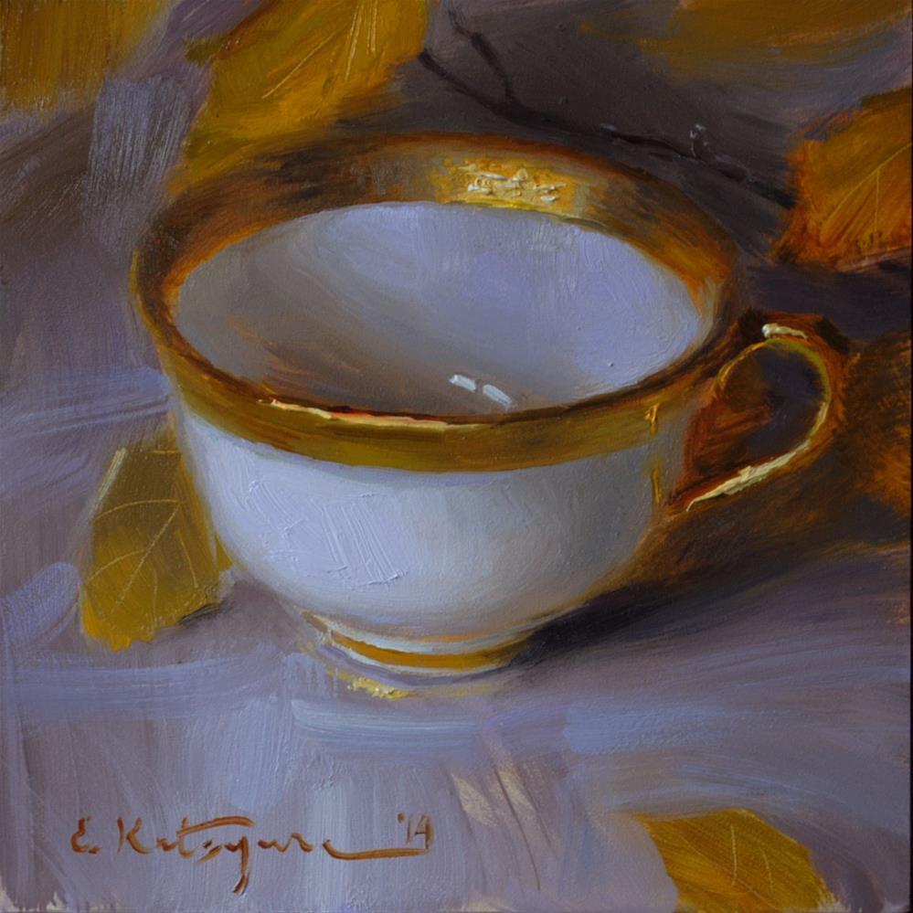 """""""White and Gold"""" original fine art by Elena Katsyura"""
