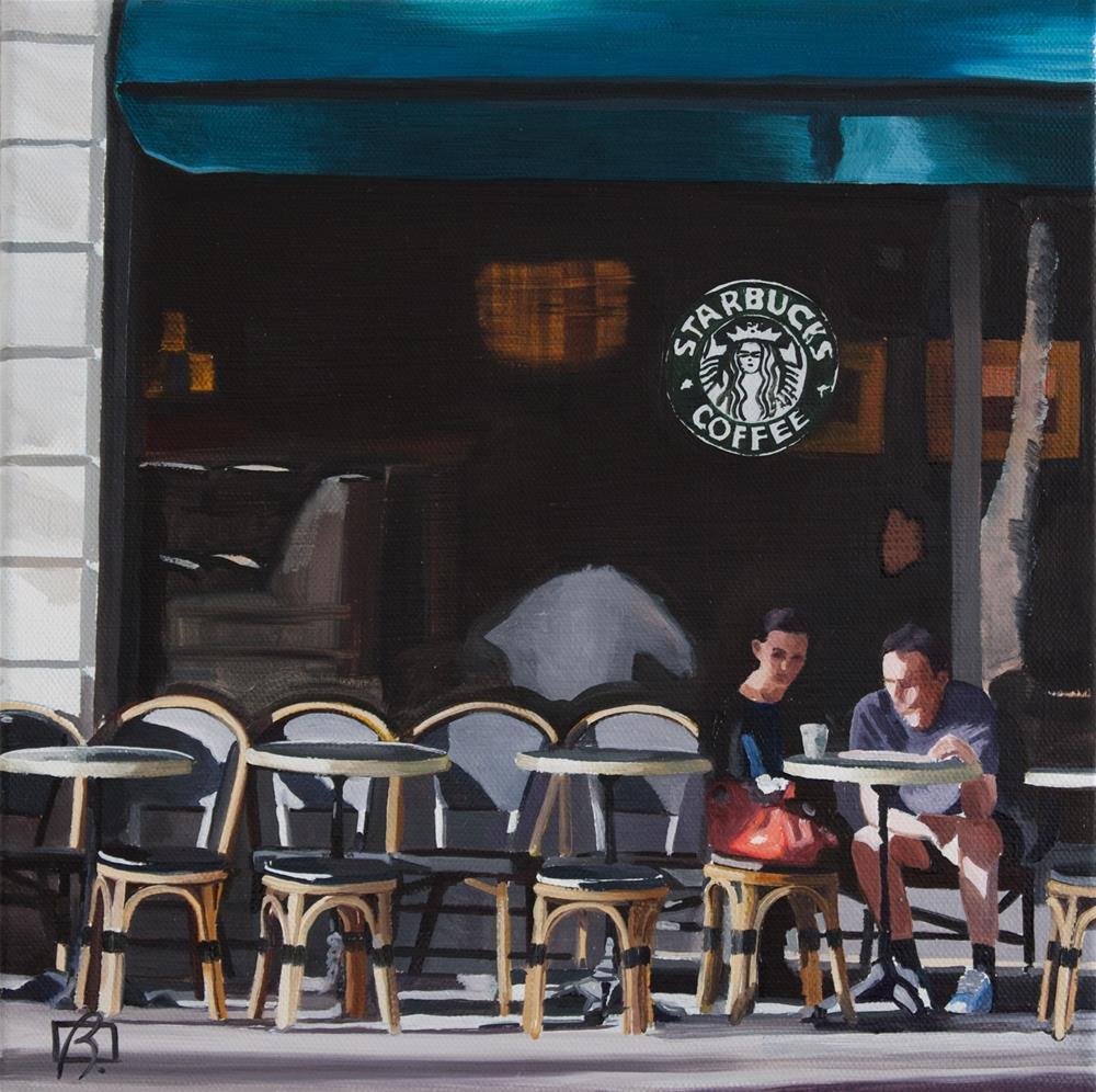 """Starbucks coffee in the sun"" original fine art by Andre Beaulieu"