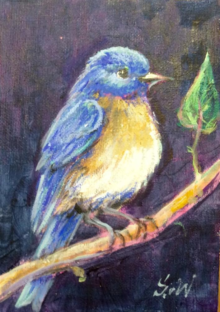 """""""Bluebird song"""" original fine art by Sonia von Walter"""