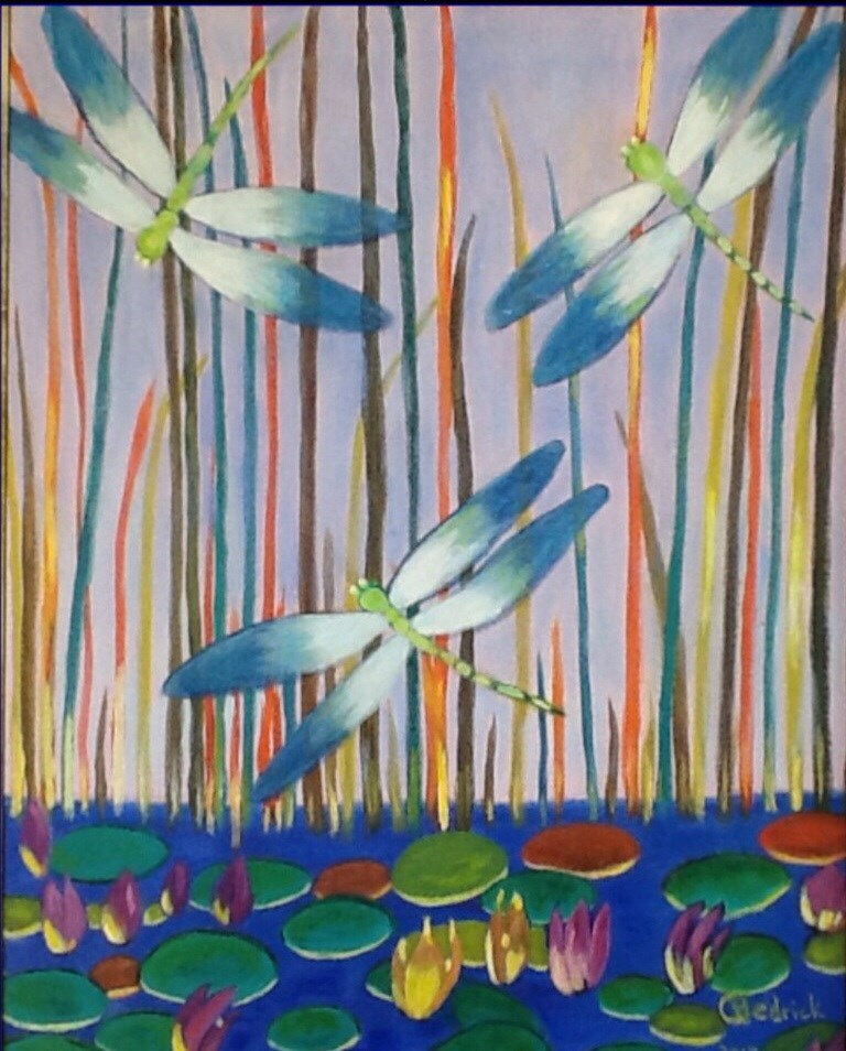 """""""PSYCHEDELIC DRAGONFLIES"""" original fine art by Charlotte Bankhead Hedrick"""